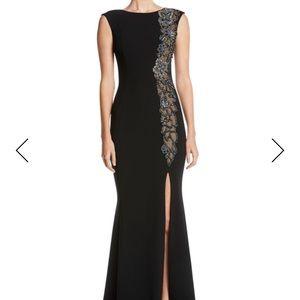 Theia Beaded & Sheer High-Slit Sleeveless Gown
